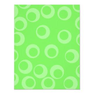 Circle design in green. Retro pattern. Personalized Invitation