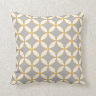Circle Diamond Pattern Grey Mustard Cream Throw Pillow