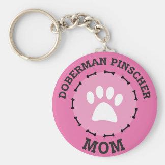 Circle Doberman Pinscher Mom Badge Basic Round Button Key Ring