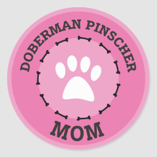 Circle Doberman Pinscher Mom Badge Classic Round Sticker