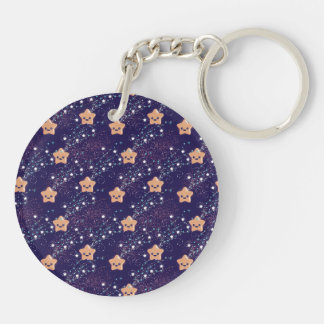 Circle (double-side) Kawaii Star Double-Sided Round Acrylic Key Ring