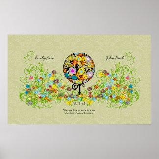 Circle Flower Tree Thin Damask Print background
