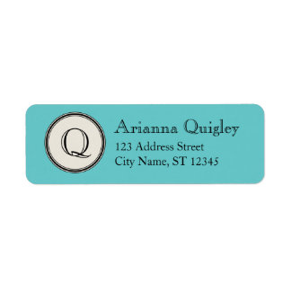 Circle Frame Monogram Return Address, Aqua Return Address Label