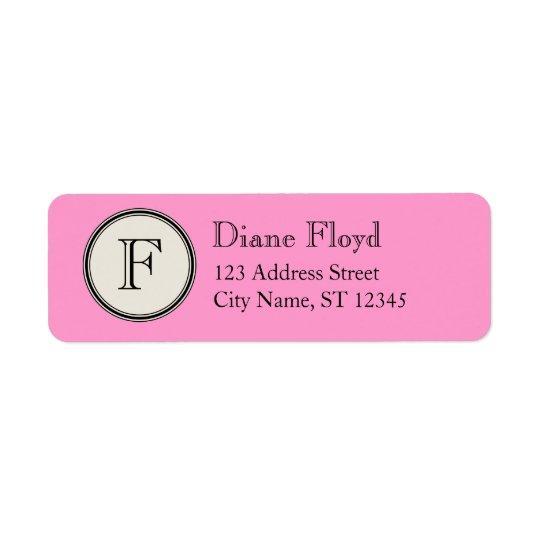 Circle Frame Monogram Return Address, Pink