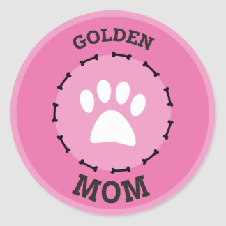 Circle Golden Retriever Mom Badge Classic Round Sticker