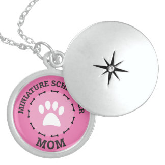 Circle Miniature Schnauzer Mom Badge Locket Necklace