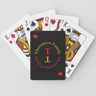 circle monogram family love playing cards