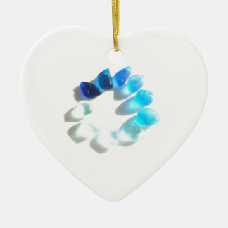 Circle of Blue Sea Glass from Seaham Christmas Ornament