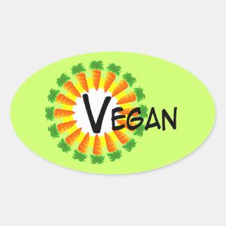 Circle of Carrots Sun Vegan Oval Sticker