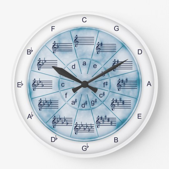 Circle of Fifths Blue Marble for Musicians Wallclock