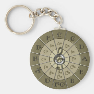Circle of Fifths Deco Gold Basic Round Button Key Ring