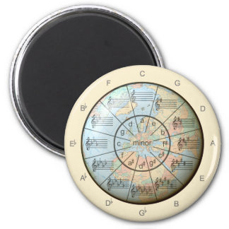 Circle of Fifths for Music Around the Globe 6 Cm Round Magnet