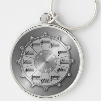 Circle of Fifths Gear for Musicians Silver-Colored Round Key Ring