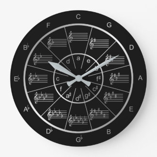 Circle of Fifths in Silver for Musicians Large Clock