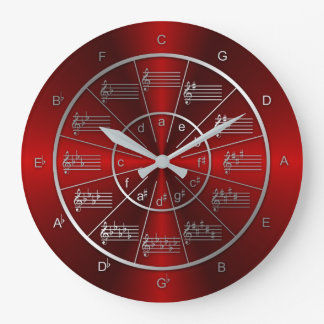 Circle of Fifths Red Light Beams Large Clock