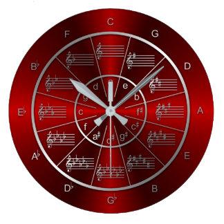 Circle of Fifths Red Light Beams Wallclock
