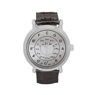 Circle of Fifths Time for Music Black Silver Wristwatches