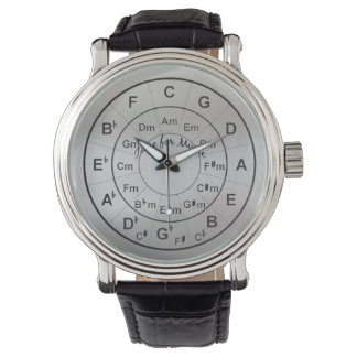 Circle of Fifths Time for Music Black Silver Wristwatch
