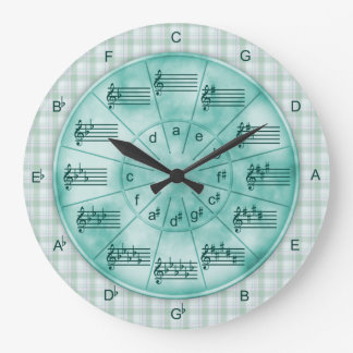 Circle of Fifths Turquoise Marble for Musicians Wallclocks