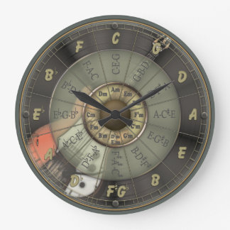 Circle Of Fifths - Vintage Guitar Large Clock
