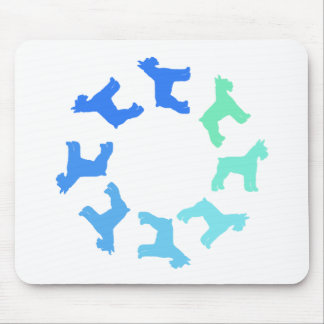 Circle of Giant Schnauzers (blue to green) Mouse Mat