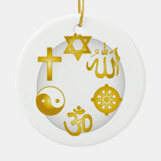 Circle of Golden Religious Symbols Christmas Ornament