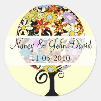Circle of Love flower Tree Wedding Stickers Seals Round Sticker