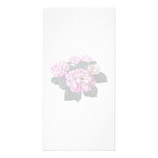 Circle of Pink Hydrangea Personalized Photo Card