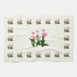 Circle of Pink Tulips Kitchen Towel