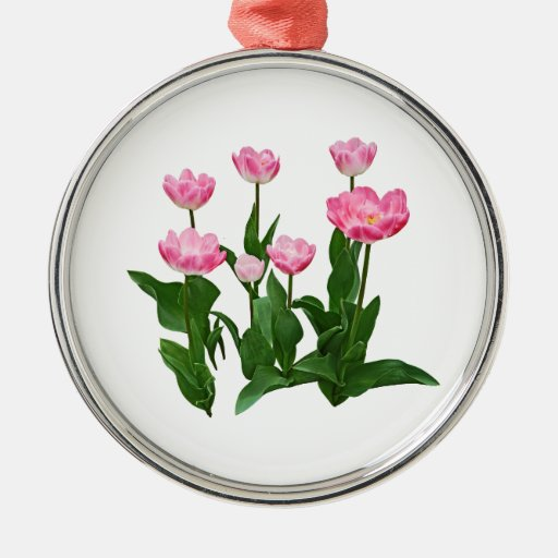 Circle of Pink tulips Silver-Colored Round Decoration