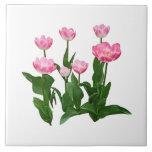 Circle of Pink Tulips Tiles