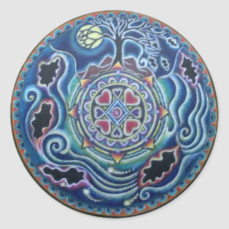 Circle of the Seasons- Fall Equinox Mandala Classic Round Sticker