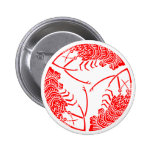 Circle of three spiny lobsters pinback button