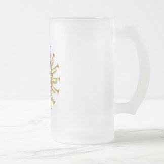 Circle of Trumpets Frosted Glass Beer Mug