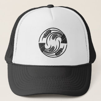 Circle of two head-to-tail rice plants trucker hat