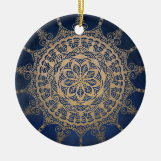 Circle Ornament Blue Golden Mandala Design