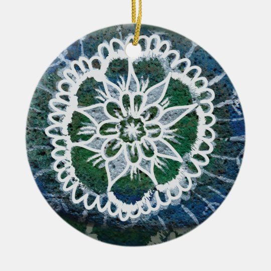 Circle Ornament  Blue Mandala Edelweiss