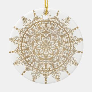 Circle Ornament Golden Mandala Design Christmas Ornament