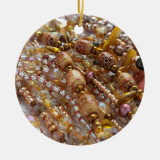 Circle Ornament- Natural Earthtones Beads Print Christmas Ornament
