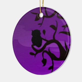 Circle Ornament-Purple&Black Owl Silhouette Design Round Ceramic Decoration
