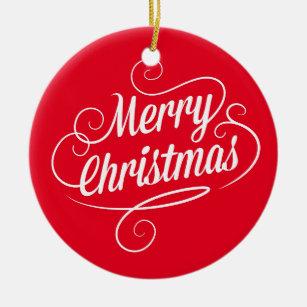 Merry Text Christmas Tree Decorations & Ornaments | Zazzle.co.uk