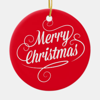 Circle Ornament with Cheerful Merry Christmas Text