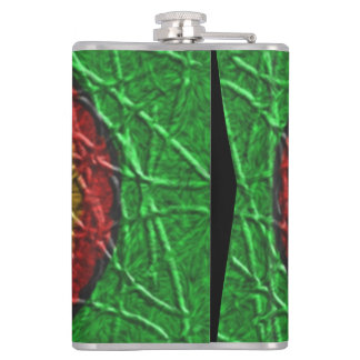 Circle pattern on green background hip flask