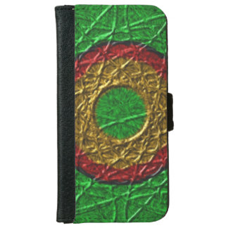Circle pattern on green background iPhone 6 wallet case