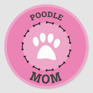 Circle Poodle Mom Badge Round Sticker