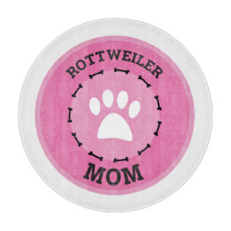 Circle Rottweiler Mom Badge Cutting Board