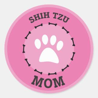 Circle Shih Tzu Mom Badge Classic Round Sticker