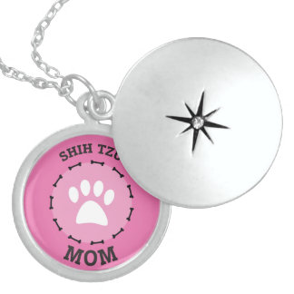 Circle Shih Tzu Mom Badge Sterling Silver Necklace