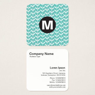 Circle Spot Monogram - Leaf Stalks - Lt Aqua Square Business Card
