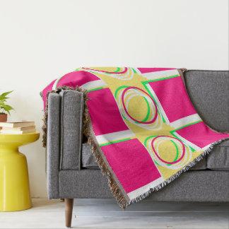 Circle & Squares Pink Yellow 4Jackie Throw Blanket